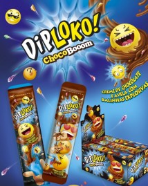 DIP LOKO CHOCO BOOM SABOR CREME CHOCOLATE E AVELÃ COM BALINHAS EXPLOSIVAS 10G
